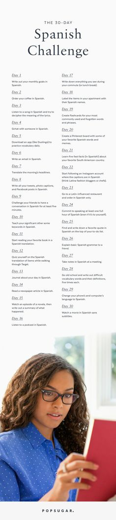 Try This Challenge to Improve Your Spanish! Try This Challenge to Improve Your Spanish!<br> Improving your Spanish always seems like a daunting task, except if you break it down into a challenge. Thirty days of practicing the language means that you Spanish Help, Learn To Speak Spanish, Ap Spanish, Spanish Grammar, Spanish Vocabulary, Spanish Words, Spanish Language Learning, Spanish Teacher, Spanish Classroom