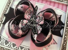 Pink and Black Paris Stacked Boutique Hair Bow by BanglesnBows, $9.50