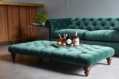 emerald green velvet chesterfield sofa from Darlings of Chelsea