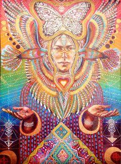 Bird tribe Feathered goddess Native Sacred Geometry, Sacred, ayahuasca art, moon phases art / Sacred Geometry <3