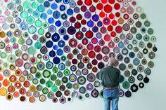 Wow. Tuominen's crochet potholder installation.