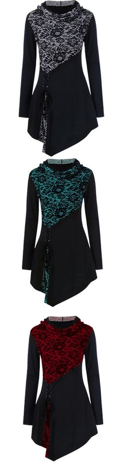 $9.64 Lace-Up Hooded Asymmetrical T-Shirt