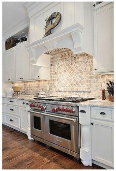 Country Kitchen Backsplash, Outdoor Kitchen Countertops, Kitchen Decor, Kitchen Cabinets, Granite Countertop, Brick Backsplash White Cabinets, Kitchen Sink, Traditional Kitchen Backsplash, Brick Wall Kitchen