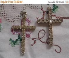 Summer Reductions Vintage Pair of Crosses with Diamantes Ideal as Pendants Nice Gift for Confirmation. by vintageretrojewels on Etsy