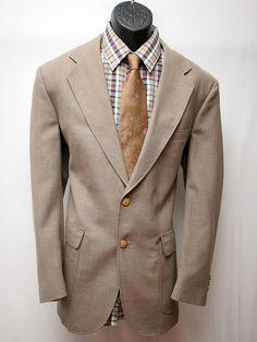 Vintage Men's Jacket Tan Beige Taupe Retro by VintageClothingWear, $32.00