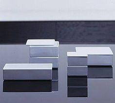 Ju-bako Stackable Porcelain Stackable Boxes  Square: Small: W85×D85×H43 Medium: W130×D130×H53 Large: W165×D165×H53  Rectangle: W200×D100×H48X