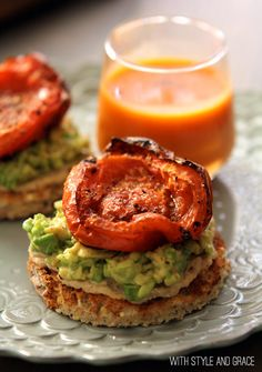 I have to try this recipe! hummus, avocado and roasted tomatoes on toast!