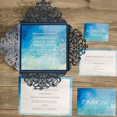 shades of blue watercolor laser cut wedding invitations EWWS078