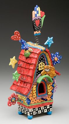Clay Art Bird House - I think I want this in adult size lol, this would be such a wonderful happy place for a creative person to live!!!!