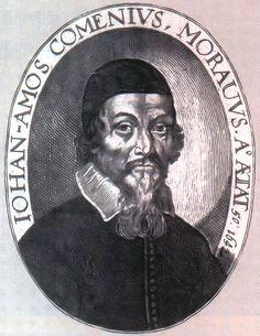 Johann Amos Comenius.Jan Amos Comenius (Çekçe: Jan Amos Komenský; Almanca: Johann Amos Comenius; Latince: Iohannes Comenius) (28 Mart 1592 – 15 Kasım 1670) Çek öğretmen, bilim adamı, eğitimci ve yazardır. Brethren Birliği/Moravya piskoposu, dini mülteci, ve evrensel eğitimin ilk savunucularındır, Didactica magna kitabında bunun kavramı açıklanmıştır. Cominius ulusların öğretmeni olarak bilinmektedir. Birth And Death, Martini, Personalized Items, Portraits, Head Shots, Martinis, Portrait Paintings, Portrait