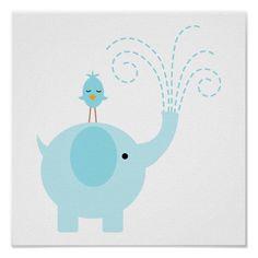 Adorable Blue Elephant and Bird Poster Sailboat Nursery, Elephant Nursery Decor, Nautical Nursery, Nursery Prints, Nursery Wall Art, Nursery Ideas, Baby Photo Collages, Aviation Theme, Alphabet Nursery