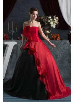 2013 Latest Strapless Red and Black Satin Wedding Gowns