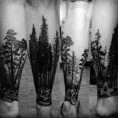 Adventure in the natural wonder of the great outdoors with the top 101 best forest tattoo designs Explore cool tree ink and wild animal ideas. Tree Leg Tattoo, Forest Tattoo Sleeve, Forest Forearm Tattoo, Forest Tattoos, Leg Tattoo Men, Arm Tattoos For Guys, Trendy Tattoos, Sleeve Tattoos, Tattoos For Women