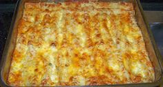 Best Ever Enchilada  Ingredients:  - 3 c. chicken, boiled and chopped  - 1 (4 oz) can green chilies  - 1 can green enchilada sauce  - 1/2 c. chopped onion  - 1 tsp. garlic salt  - 1 small carton (whipping) cream  - oil (enough to fill bottom of frying pan)  - 8 oz. Monterrey Jack cheese, shredded  - corn tortillas (about 12)