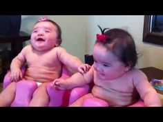 Cute Twin babies laughing, crying, and then laughing.