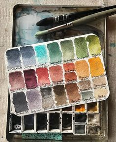 By request, this is the neutral palette I put together when I want to keep things purposely muted. All are Daniel Smith professional watercolor paints from the tube, except for the few Sennelier pigments shown. Housed in a vintage tin like the ones I carry in my shop. #watercolor #danielsmith #artsupplies