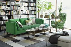 IKEA Fan Favorite: STOCKHOLM sofa. Aside from looking great in any room of your home, this beautiful, green sofa is soft to touch and easy to keep clean!