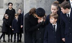 Mary, 46, was dressed in all black as she joined husband Frederik at the funeral in Copenhagen, with Prince Christian, Princess Isabella, Princess Josephine and Prince Vincent.
