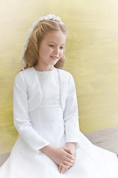 Emmerling Communion Bolero - 75002 - White Satin and Organza Beaded Long Sleeve Jacket - Age 6 7 8 9 10 11 12 years - Girls First Communion Jacket -