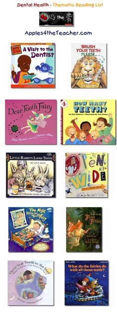 Suggested thematic reading list for Dental Health Month - Dental Health Month books for kids.   http://www.apples4theteacher.com/holidays/dental-health/kids-books/