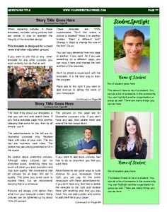 """This inside page sports a student spotlight section. Try this 11""""x14"""" newspaper template now using our Free Cloud Designer: www.makemynewspaper.com/free-newspaper-templates"""