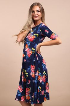77d4767a3182 Love this navy blue floral print skater dress! It is so comfortable and  easy to. Virgo Boutique