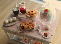 Pink baking table in miniature (1:12 scale)