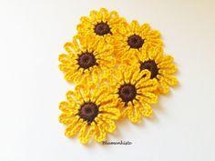 Häkelapplikation, Sonnenblume 6 Stück von Blumenkiste auf DaWanda.com