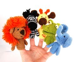 5 finger puppet birthday party crocheted lion giraffe elephant, zebra, crocodile amigurumi safari toys, play fables, orange yellow brown on Etsy, $44.33