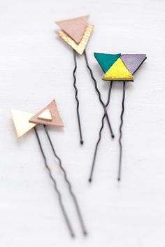 DIY Leather Fabric Earrings | diy leather geometric hair pins really sweet and easy wondering if you ...
