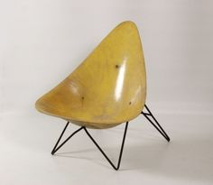 Anonymous; Fiberglass and Painted Metal Easy Chair by Merat, 1956.