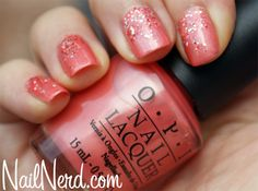 OPI- Melon of Troy- a pretty pearlescent peach/coral color (wearing now) Opi Gel Nails, Manicure And Pedicure, Mani Pedi, Manicures, Sparkle Nails, Glitter Nails, Coral Nails With Design, Party Nails, Gel Nail Designs