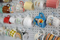 Mugs on Pegboard Coffee Cup Storage, Mug Storage, Coffee Cups, Storage Ideas, Kitchen Storage, Kitchen Pegboard, Coffee Coffee, Storage Solutions, Diy Projects For Men