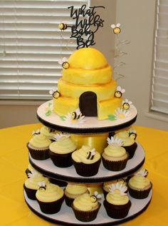 Baby Shower Cakes, Baby Shower Kuchen, Bumble Bee Cupcakes, Girl Cupcakes, Birthday Cake Girls, Birthday Cupcakes, Birthday Ideas, Flower Birthday, Bee Cakes
