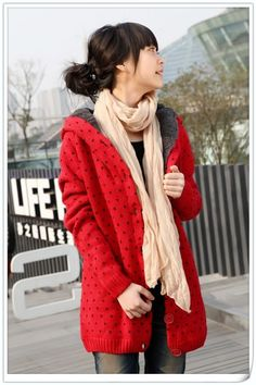 Winter Fashion Thicker Red Sweater Coat