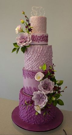 {Stunning flowers and ruffles on this Purple wedding cake by Bistra Dean} Summer Wedding Cakes, Purple Wedding Cakes, Elegant Wedding Cakes, Elegant Cakes, Beautiful Wedding Cakes, Gorgeous Cakes, Wedding Cake Designs, Pretty Cakes, Amazing Cakes