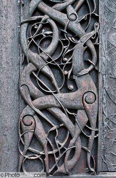 Wood carving from Urnes Stave Church in Norway.