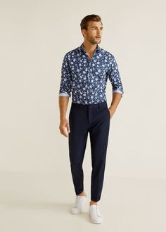 Mango Floral Print Italian Fabric Shirt - S Floral Suit Men, Estilo Tomboy, Camisa Floral, Formal Men Outfit, Man Dressing Style, Korean Fashion Men, Summer Fashion Outfits, Men's Fashion, Stylish Mens Outfits