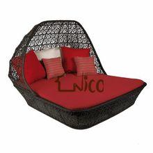 SB-(12) móveis de vime quadrado duplo dom cama para ao ar livre
