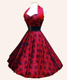 Vivien of Holloway - 1950s Halterneck Luxury Dress - Red Spiderweb
