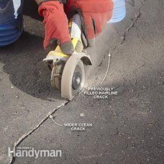 Widen hairline cracks - Asphalt Patching and Crack Repair: http://www.familyhandyman.com/masonry/asphalt-patching-and-crack-repair/view-all