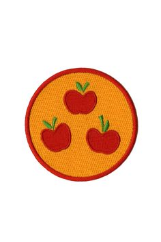 Embroidered patch with Applejack cutie mark design.