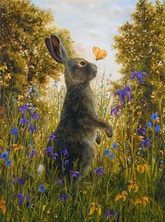 Rabbit and Butterfly by Robert Bissel I love this bunny/hare with the yellow and purple flowers in the field with a butterfly and trees! Hare Illustration, Illustrations, Rabbit Art, Bunny Art, Wildlife Art, Whimsical Art, Animal Paintings, Watercolor Art, Cute Pictures