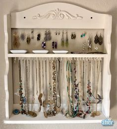 old spice rack redone into a beautiful jewelry organizer