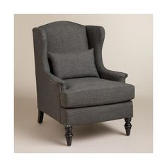 Cost Plus World Market Charcoal Oscar Chair ($350) ❤ liked on Polyvore featuring home, furniture, chairs, accent chairs, chair, chairs and ottomans, wing back chair, cost plus world market, dark gray accent chair and dark gray furniture