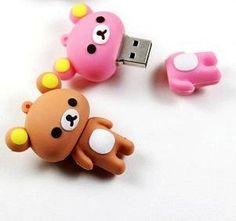 New Cute Pink Rilakkuma Bear Style USB flash drive. So kawaii ! Rilakkuma, Cute Stationary, Usb Stick, Cute School Supplies, Kawaii Stationery, Kawaii Cute, Clay Charms, Cute Pink, Sanrio