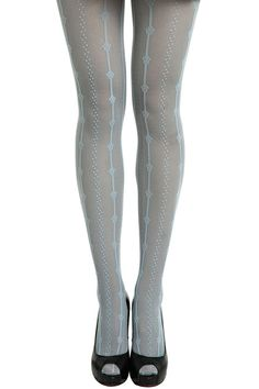 ROMWE | Vertical Stripe Dot Light-blue Tights, The Latest Street Fashion