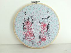 deer skull with roses handmade embroidery by lonelymtnembroidery-24% off sale until june 30, 2016; see etsy page for details!