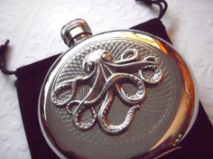Steampunk Octopus Flask Silver Plated Gothic Victorian Style Vintage Inspired Nautical Accessories. $65.00, via Etsy.