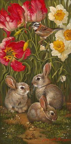 """Spring Blooming II"" by Yana Movchan Art And Illustration, Illustrations, Animal Paintings, Animal Drawings, Art Drawings, Bunny Art, Cute Bunny, Lapin Art, Art Mignon"